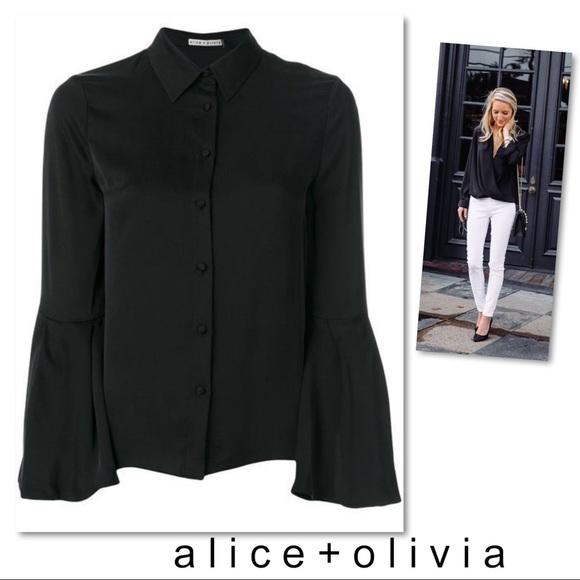 Alice + Olivia Tops - Alice + Olivia Myrtle Trumpet Sleeve Silk Blouse L